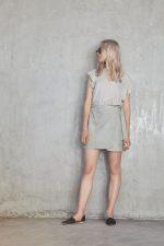Aila Top Dove Grey and Mara Wrap Suede Skirt Grey
