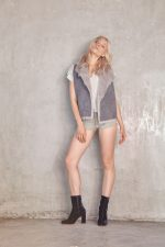 Aila Top Ziggy Grey Vika Leather Short Grey Shearling Vest Grey