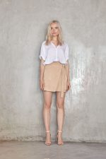Hutton Top White and Mara Wrap Suede Skirt Natural2