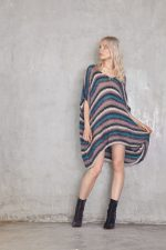 Ali Stripe Poncho Teal Pink Grey