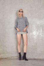 Manon Knit Jumper Black Mix and Viker Leather Short Grey2
