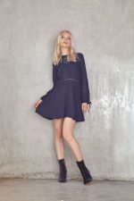 Marla Embroided Dress Navy