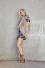 Salvador Paisley Mini Dress Navy Paisley and Sherpa Vest Sand
