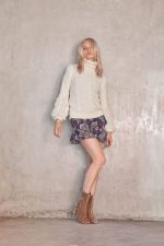 Filigree Knit Oatmeal and Alves Skirt Paisley
