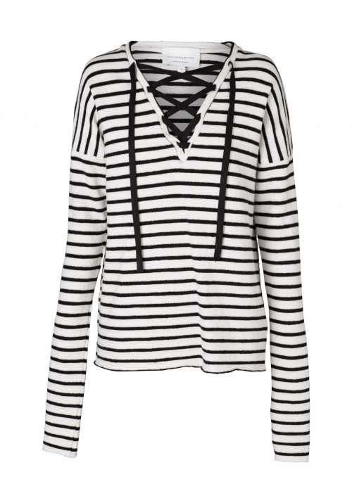 V541-2-STOCKARD LACED CREW-IVORY:BLACK STRIPE