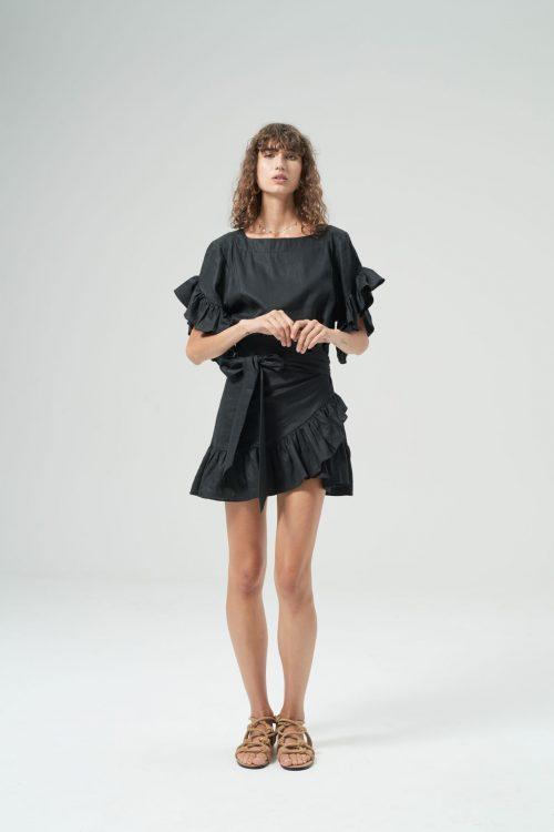 Ellen linen dress black front (1)