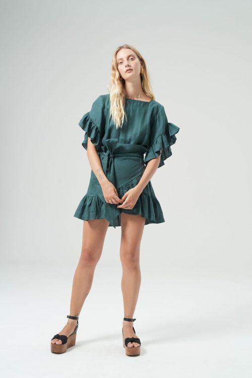 Ellen linen dress green front (1)