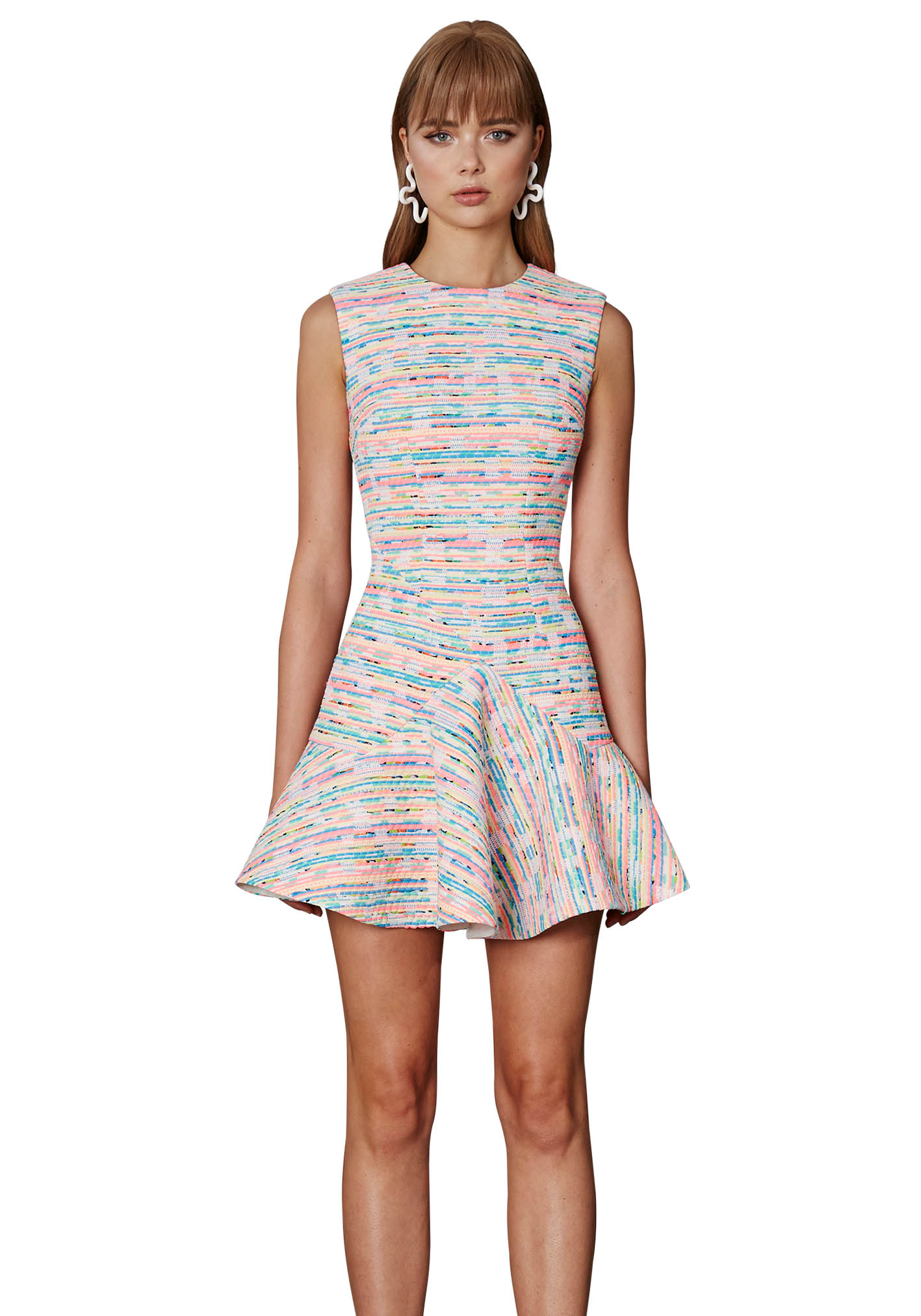 New-BY-JOHNNY-Neon-Weave-V-Flare-Mini-Dress-Neon-Weave