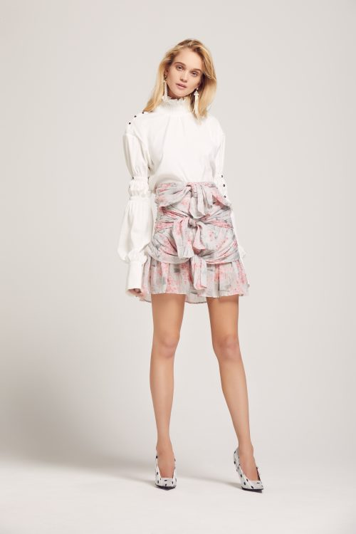 AT171153- CONSEQUENSES SHIRT- WHITE + AT171176+ OLD HEARTS FALL SKIRT- PINK: GREY: PRINTED LINEN 1