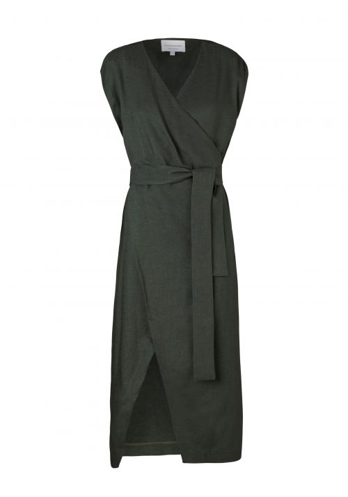 JERICHO WRAP DRESS-KHAKI